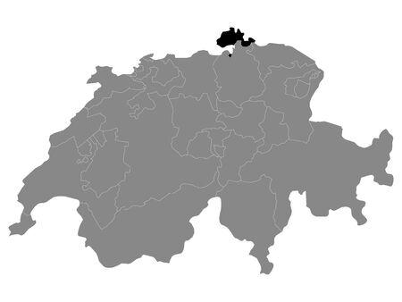 Black Location Map of Swiss Canton of Schaffhausen within Grey Map of Switzerland