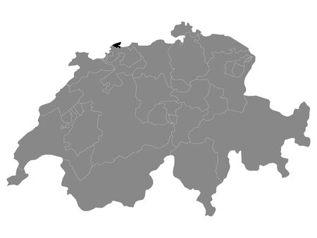 Black Location Map of Swiss Canton of Basel-Stadt within Grey Map of Switzerland Illustration