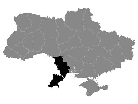 Black Location Map of Ukrainian Region (Oblast) of Odessa  within Grey Map of Ukraine