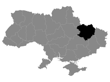Black Location Map of Ukrainian Region (Oblast) of Kharkiv within Grey Map of Ukraine