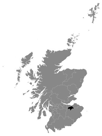 Black Location Map of Scottish Council Area of Midlothian within Grey Map of Scotland