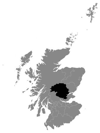 Black Location Map of Scottish Council Area of Perth and Kinross within Grey Map of Scotland