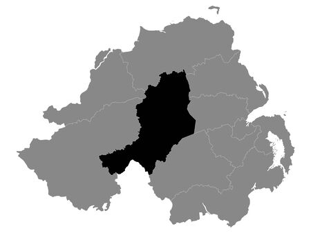 Black Location Map of Northern Irish Local Government District of Mid Ulster within Grey Map of Northern Ireland