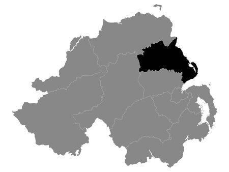 Black Location Map of Northern Irish Local Government District of Mid and East Antrim within Grey Map of Northern Ireland Ilustração