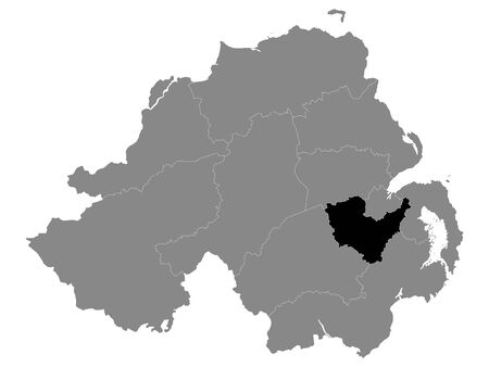 Black Location Map of Northern Irish Local Government District of Lisburn and Castlereagh within Grey Map of Northern Ireland