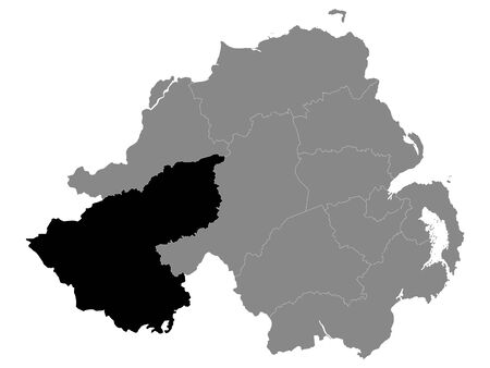 Black Location Map of Northern Irish Local Government District of Fermanagh and Omagh within Grey Map of Northern Ireland Ilustração