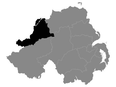 Black Location Map of Northern Irish Local Government District of Derry and Strabane within Grey Map of Northern Ireland