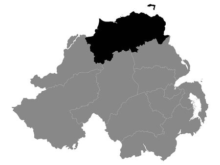 Black Location Map of Northern Irish Local Government District of Causeway Coast and Glens within Grey Map of Northern Ireland