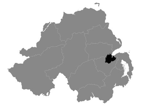 Black Location Map of Northern Irish Local Government District of Belfast within Grey Map of Northern Ireland
