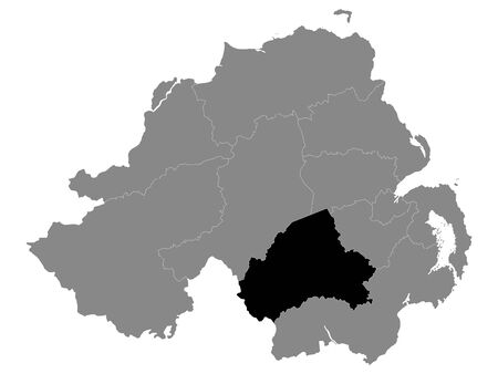 Black Location Map of Northern Irish Local Government District of Armagh City, Banbridge and Craigavon within Grey Map of Northern Ireland