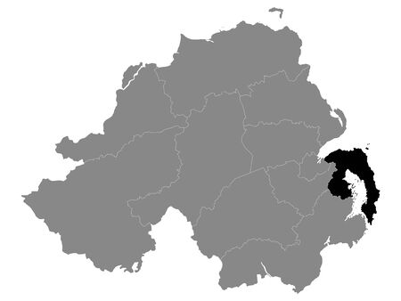 Black Location Map of Northern Irish Local Government District of Ards and North Down within Grey Map of Northern Ireland