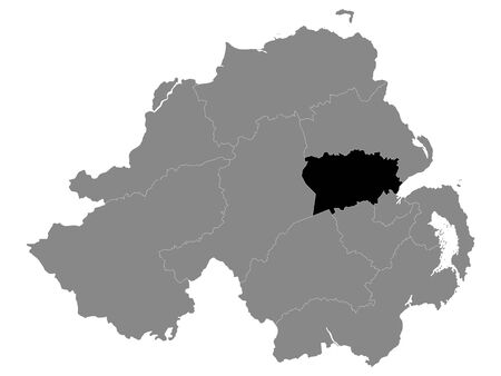 Black Location Map of Northern Irish Local Government District of Antrim and Newtownabbey within Grey Map of Northern Ireland