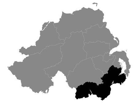 Black Location Map of Northern Irish Local Government District of Newry, Mourne and Down within Grey Map of Northern Ireland Иллюстрация