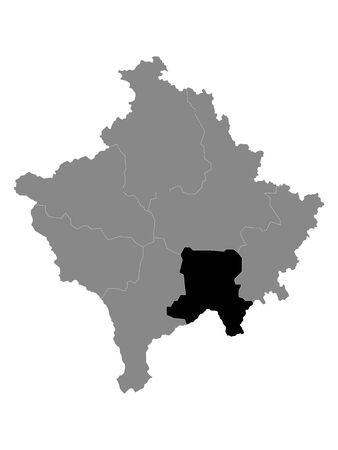 Black Location Map of Kosovar District of Ferizaj within Grey Map of Kosovo