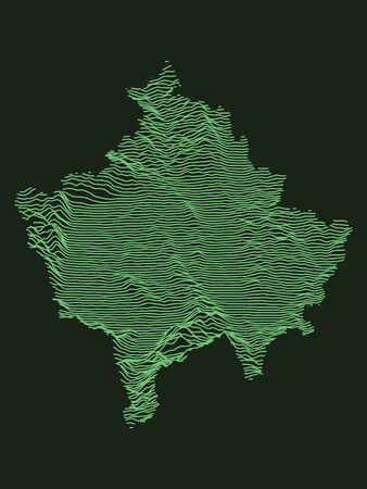 Tactical Military Emerald 3D Topography Map of European Country of Kosovo
