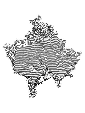 Gray 3D Topography Map of European Country of Kosovo