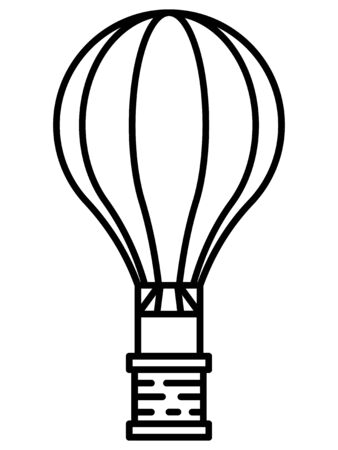 Simple Hand Drawn Flat Illustration of a Black and White Hot Air Balloon