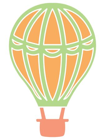 Simple Hand Drawn Flat Illustration of a Colorful Hot Air Balloon
