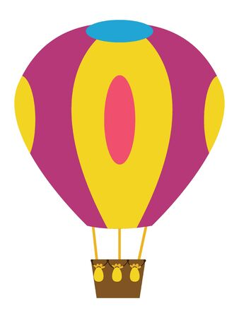 Detailed Hand Drawn Flat Illustration of a Colorful Hot Air Balloon Ilustração