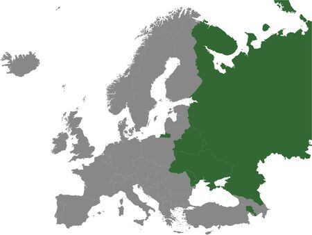 Detailed Green Flat Political Map of Commonwealth of Independent States Free Trade Area (CISFTA) on Grey Background of European Continent