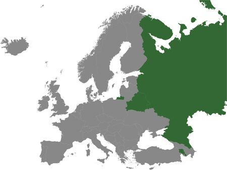 Detailed Green Flat Political Map of Eurasian Economic Union (EAEU) on Grey Background of European Continent Ilustração