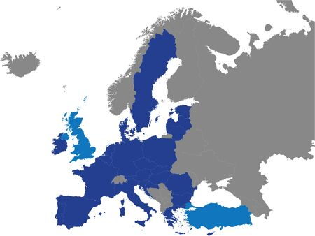 Detailed Colored Flat Political Map of European Union Customs Union (EUCU) on Grey Background of European Continent