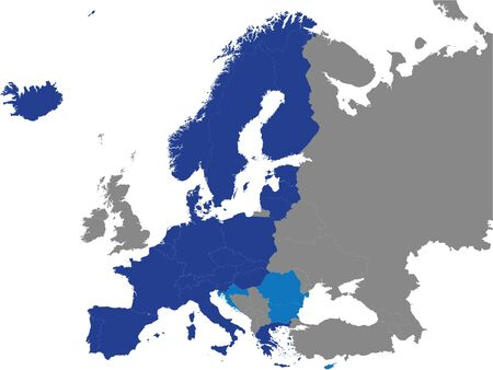 Detailed Colored Flat Political Map of the Schengen Area on Grey Background of European Continent Ilustração