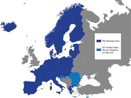 Detailed Colored Flat Political Map of the Schengen Area on Grey Background of European Continent (with Legend) Ilustração