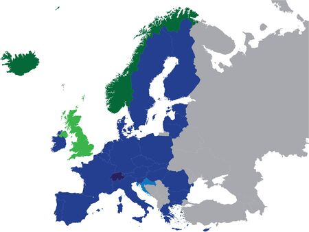 Detailed Colored Flat Political Map of European Economic Area (EEA) on Grey Background of European Continent