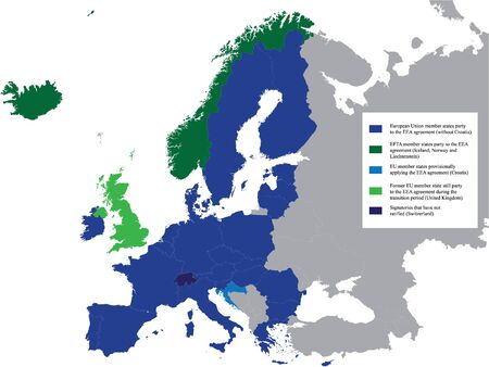Detailed Colored Flat Political Map of European Economic Area (EEA) on Grey Background of European Continent (with Legend)