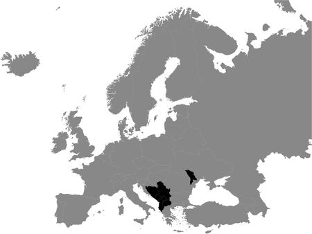 Detailed Black Flat Political Map of Central European Free Trade Agreement (CEFTA) on Grey Background of European Continent
