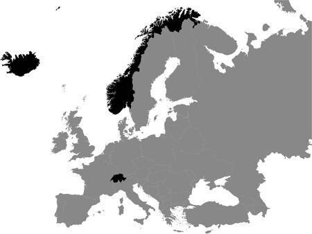 Detailed Black Flat Political Map of  European Free Trade Association (EFTA) on Grey Background of European Continent