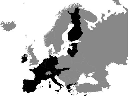 Detailed Black Flat Political Map of Eurozone on Grey Background of European Continent Ilustração