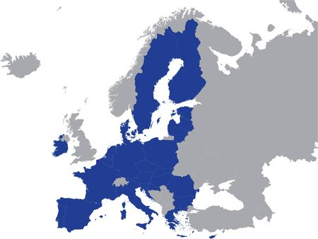 Detailed Blue Flat Political Map of European Union on Grey Background of European Continent