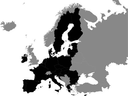 Detailed Black Flat Political Map of European Union on Grey Background of European Continent