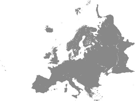 Detailed Grey Flat Blank Map of European Continent with Lakes