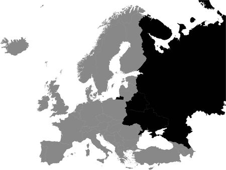 Detailed Black Flat Political Map of Eastern Europe on Grey Background of European Continent