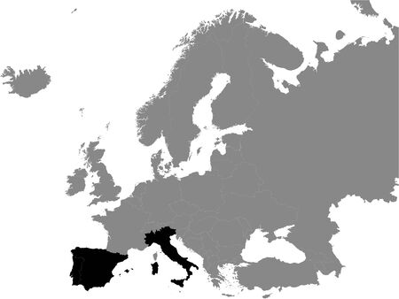 Detailed Black Flat Political Map of Southern Europe on Grey Background of European Continent Ilustração