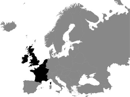 Detailed Black Flat Political Map of Western Europe on Grey Background of European Continent