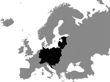 Detailed Black Flat Political Map of Central Europe on Grey Background of European Continent
