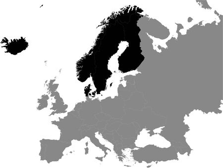 Detailed Black Flat Political Map of Northern Europe on Grey Background of European Continent Ilustração