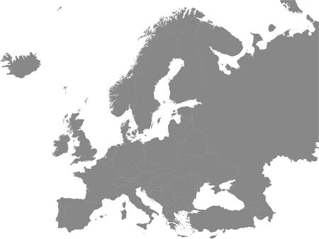 Detailed Grey Flat Political Map of European Continent