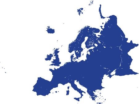 Detailed Blue Flat Blank Map of European Continent with Lakes