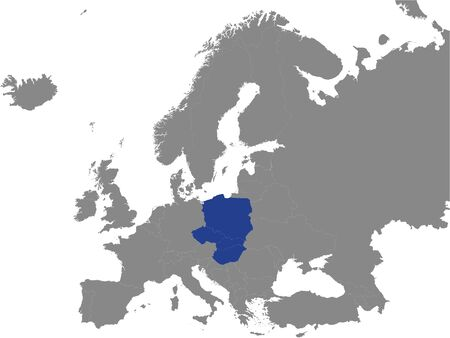 Detailed Blue Flat Political Map of Visegrad Group (V4) on Grey Background of European Continent