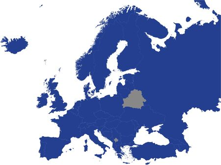 Detailed Blue Flat Political Map of Council of Europe (CoE) on Grey Background of European Continent