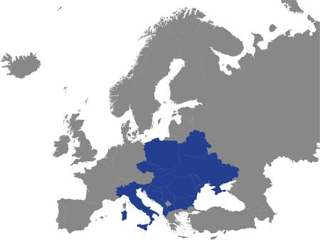 Detailed Blue Flat Political Map of Central European Initiative (CEI) on Grey Background of European Continent