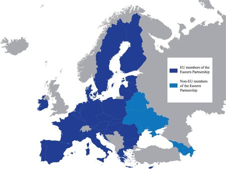 Detailed Blue Flat Political Map of Eastern Partnership (EaP) on Grey Background of European Continent (with Legend)