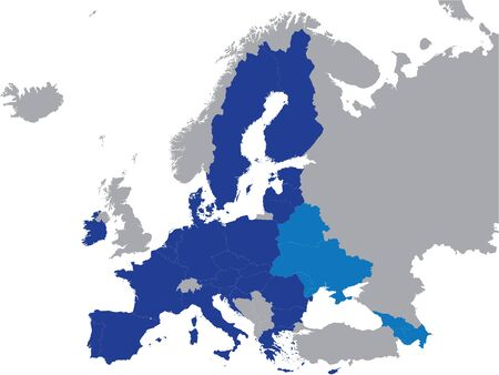 Detailed Blue Flat Political Map of Eastern Partnership (EaP) on Grey Background of European Continent