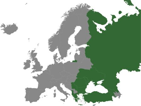 Detailed Green Flat Political Map of Organization of the Black Sea Economic Cooperation (BSEC) on Grey Background of European Continent Ilustração
