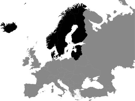 Detailed Black Flat Political Map of Baltoscandia on Grey Background of European Continent